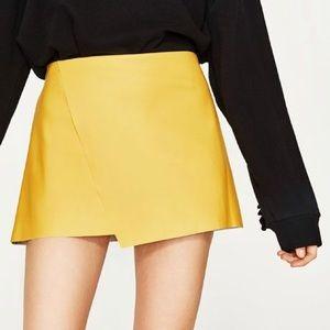 Worn Once - Yellow Zara Mini Leather Skirt